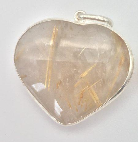 Gold Rutilated Quartz Heart Pendant in Sterling Silver