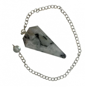 Rainbow Moonstone Crystal Faceted Pendulum