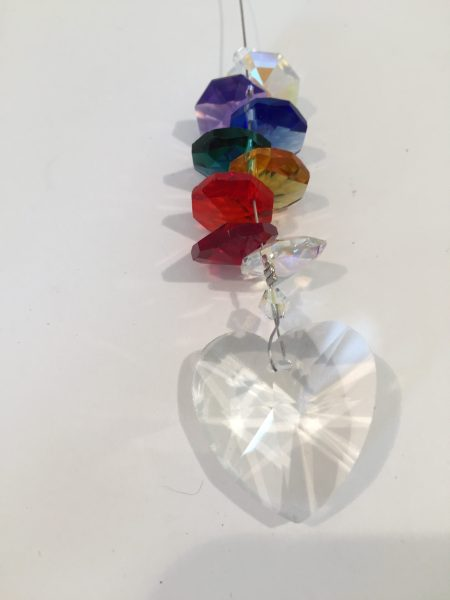 Lead Crystal Heart with Chakra Cascade