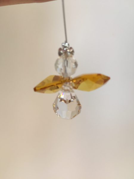 Yellow Lead Crystal Angel