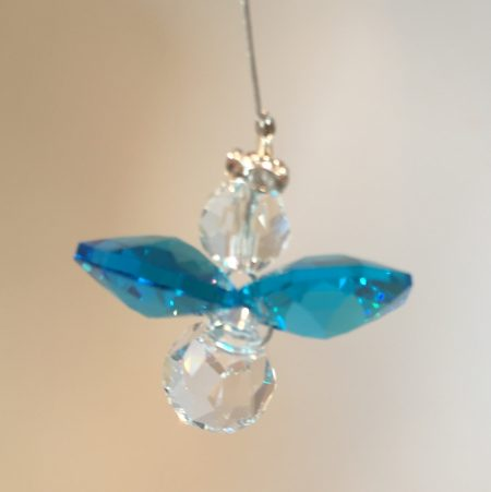 Dark Aquamarine Lead Crystal Angel