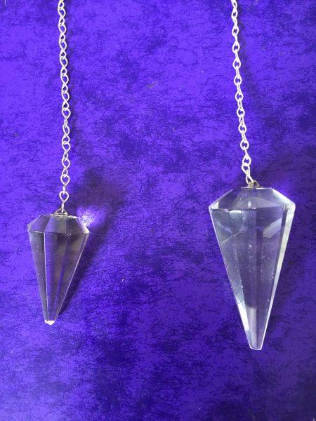 Faceted Clear Quartz Crystal Pendulum 2 sizes