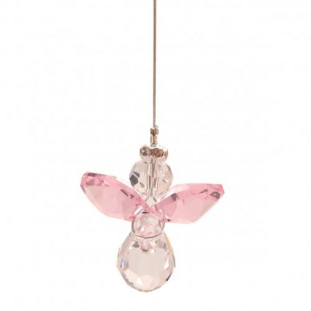 Light Pink Lead Crystal Angel