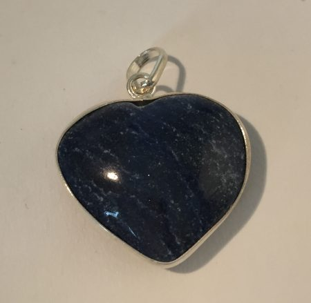 Blue Quartz Crystal Heart Pendant in Sterling Silver