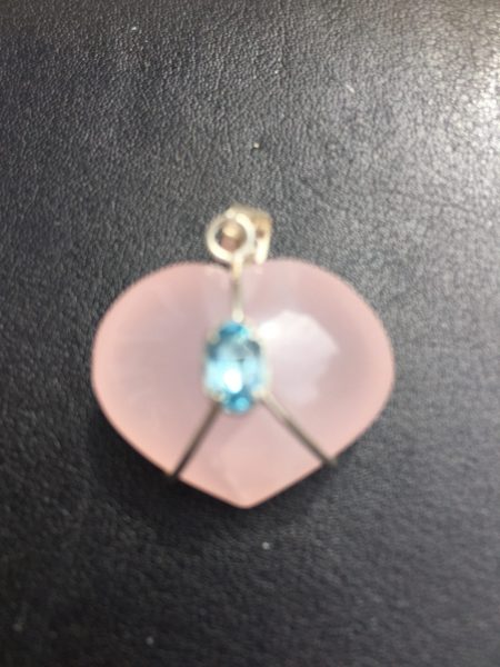 Rose Quartz Crystal Heart Pendant in Sterling Silver Harness Holding An Aquamarine Piece