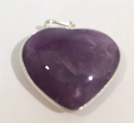Amethyst Crystal Heart Pendant in Sterling Silver