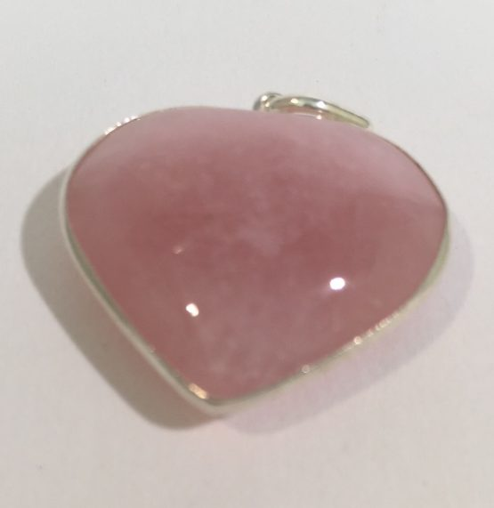 Rose Quartz Crystal Heart Pendant in Sterling Silver