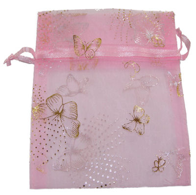 Pink Butterfly Organza Drawstring Bag (Large)