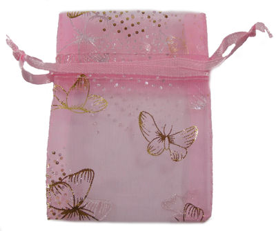 Pink Butterfly Organza Drawstring Bag (Small)