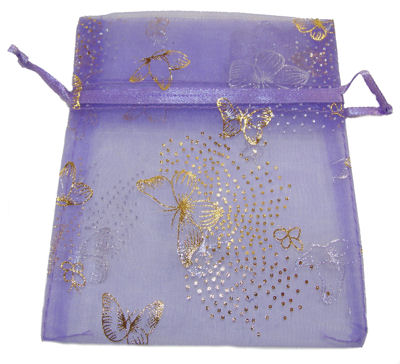 Lilac Butterfly Organza Drawstring Bag (Large)