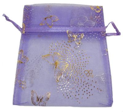 Lilac Butterfly Organza Drawstring Bag (Large)