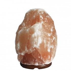 Himalayan Salt lamp 3-5 kg on a wooden base.