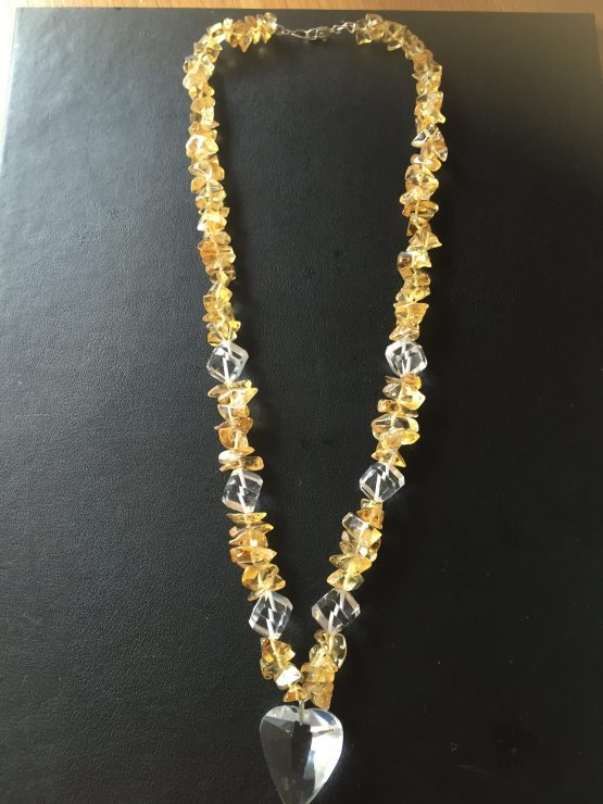 Citrine and Clear Quartz Necklace 18""