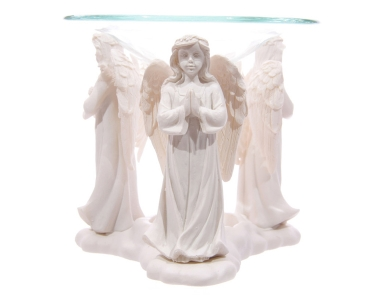 White Triple  Angels Praying Oil Burner