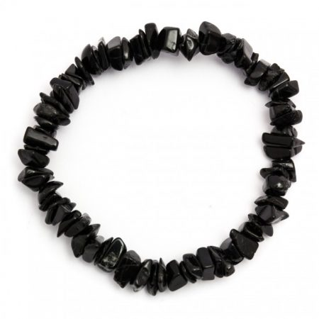 Black Tourmaline Elasticated Chip Bracelet