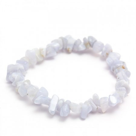 Blue Lace Agate Crystal Chip Elasticated Bracelet