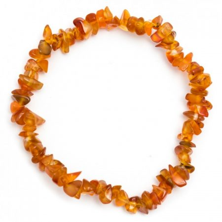 Carnelian Crystal Chip Elasticated Bracelet