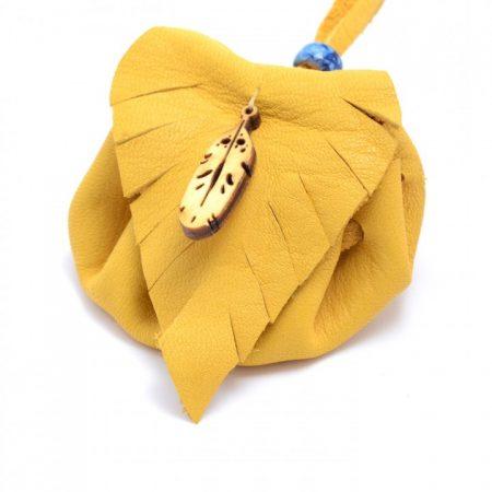 Feather Tan Leather Medicine Bag Handmade by Sylvia Jackson