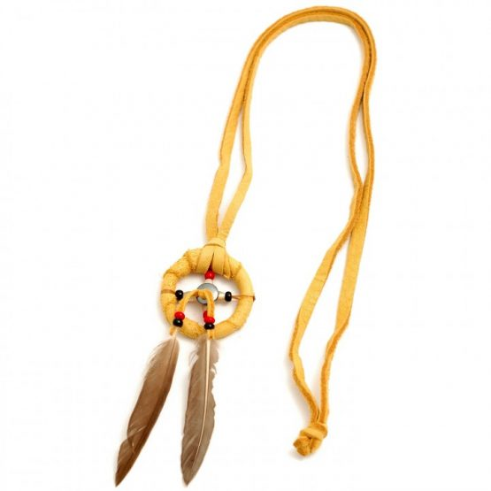 Tan Navajo Medicine Wheel Leather Necklace