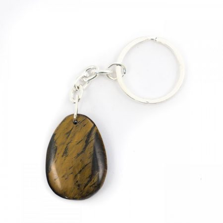 Golden Tigers Eye Crystal Teardrop Keyring