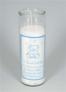 Little Boy Teddy Bear Memorial Candle 18cm