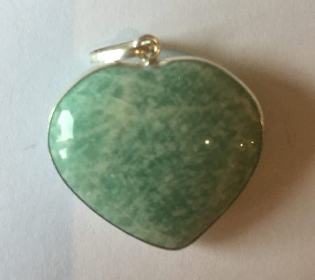 Amazonite Crystal Heart Pendant in Sterling Silver