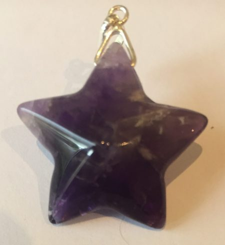 Amethyst Crystal Star Pendant With Sterling Silver Link