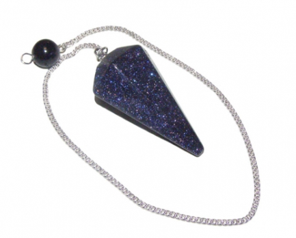 Blue Goldstone Crystal Faceted Pendulum