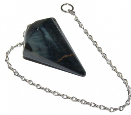 Blue Tigers Eye Crystal Faceted Pendulum