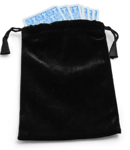 Large Black Velvet Tarot - Angel Card Bag
