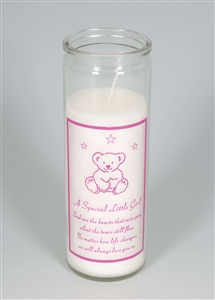 Little Girl Teddy Memorial Candle 18cm