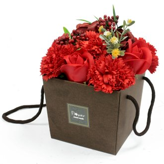 Soap Flower Bouquet -Red Rose & Carnation