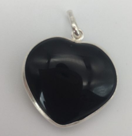 Black Obsidian Crystal Heart Pendant In Sterling Silver