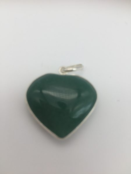 Aventurine Crystal Heart Pendant In Sterling Silver