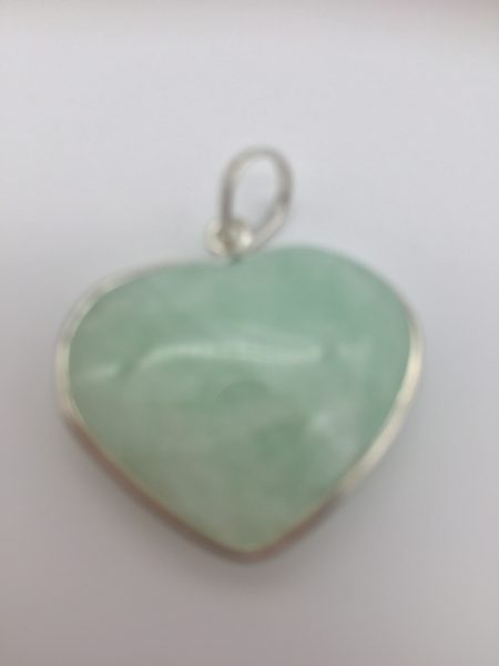 Aquamarine Crystal Heart Pendant In Sterling Silver