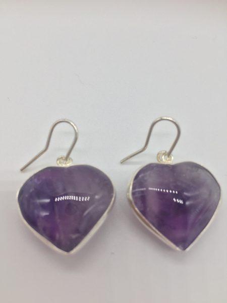Amethyst Crystal Earings In Sterling Silver