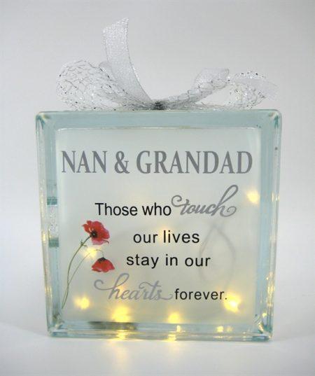 Nan And Grandad Memorial LED Glass Block 19cm