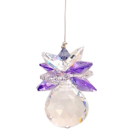 Lead Crystal Sphere With Clear & Purple Suncatchers