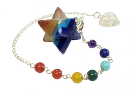 Chakra Gemstone Layer Merkaba Pendulum Bracelet